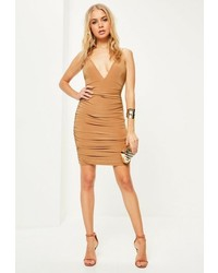 Camel slinky double strap ruched bodycon dress medium 3647255