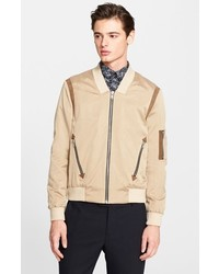 The Kooples Leather Trim Bomber Jacket | Where to buy & how to wear