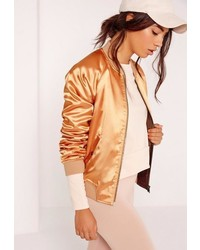 Missguided premium satin bomber jacket gold medium 1317137
