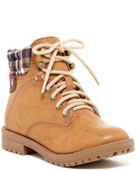 Rampage Casey Plaid Cuff Lace Up Boot
