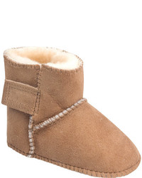 Minnetonka Infanttoddler Girls Genuine Sheepskin Pug Boot Gold Tan Sheepskin Boots