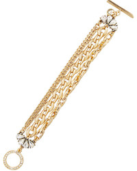 Lydell NYC Golden Multi Strand Crystal Chain Bracelet