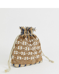Glamorous Drawstring Ratten Embellished Woven Pouch Bag