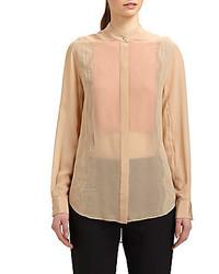 Lace inset silk chiffon blouse medium 164551