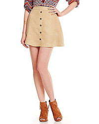 Takara Button Front Faux Suede Skirt