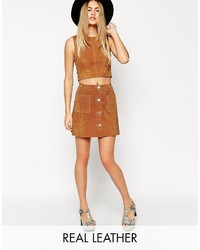 Asos Co Ord Suede A Line Skirt With Button Through And Pocket Detail
