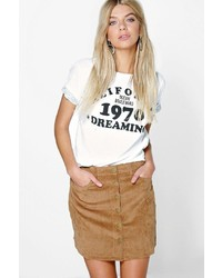 Boohoo Fallen Button Front Cord A Line Mini Skirt