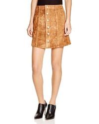 Olivaceous Faux Suede Button Front Skirt