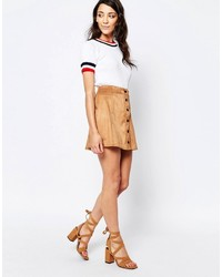 Glamorous A Line Button Front Faux Suede Mini Skirt
