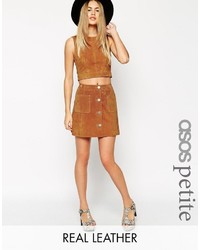 Asos Petite Petite Button Through A Line Suede Skirt