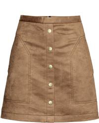 H&M Short Skirt Dark Beige Ladies