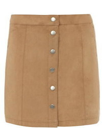 Tan Suedette Button Mini Skirt