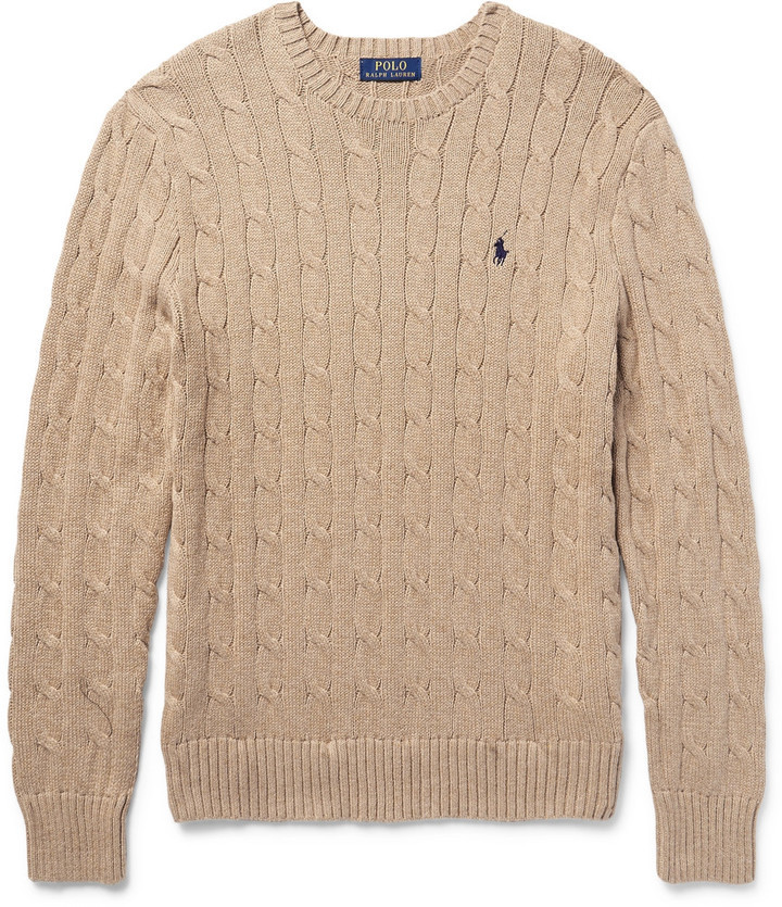... Tan Cable Sweaters Polo Ralph Lauren Cable Knit Cotton Sweater ...