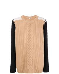 Chinti & Parker Contrast Sleeve Aran Knit Sweater