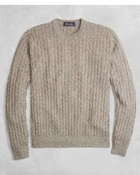 Brooks Brothers Golden Fleece 3 D Knit Cashmere Cable Stitch Crewneck