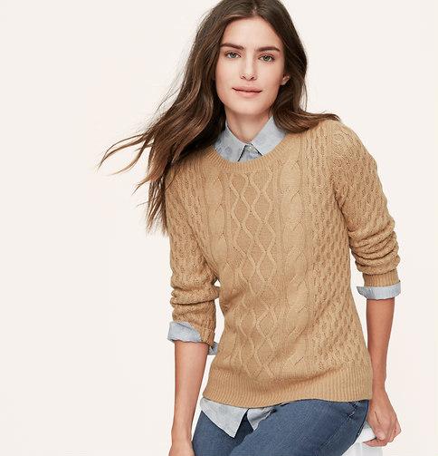 641f912d4afe73 LOFT Cable Sweater, $59 | LOFT | Lookastic.com