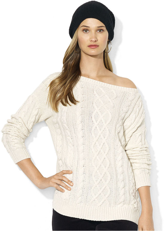 Lauren Ralph Lauren Long Sleeve Cable Knit Boat Neck Sweater | Where ...