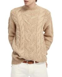 Scotch & Soda Mock Neck Cable Knit Sweater