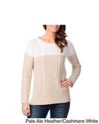 Ply Cashmere Cable Knit Colorblock Cashmere Sweater