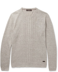 Loro Piana Slim Fit Cable Knit Linen And Silk Blend Sweater