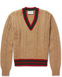 Gucci Slim Fit Striped Cable Knit Wool Sweater