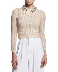Tamsin cropped cable knit sweater tan medium 352708