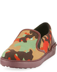 Valentino Camo Print Leather Slip On Sneaker