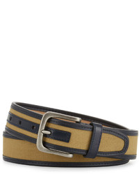 Original Penguin Canvas Inlay Belt Pale Khaki