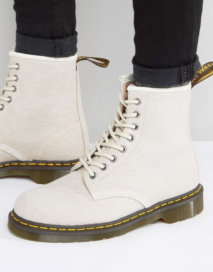7bea60671e2b9 ... Tan Canvas Boots Dr. Martens Dr Martens 1460 8 Eye Washed Canvas Boots  ...