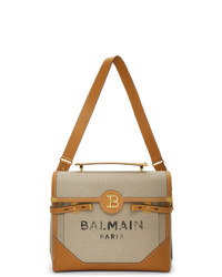 Balmain Beige And Brown B Buzz 40 Briefcase