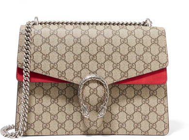 $2,290, Gucci Dionysus Medium Coated Canvas And Suede Shoulder Bag Beige
