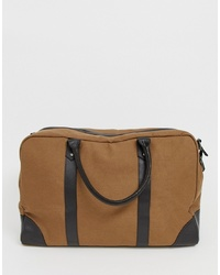 ASOS DESIGN Canvas Holdall In Tan With Brown Double S