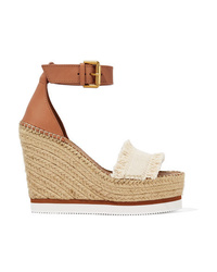 See by Chloe Canvas And Leather Espadrille Wedge Sandals