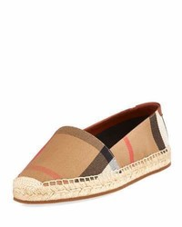 Burberry Hodgeson Check Espadrille Flat Tan