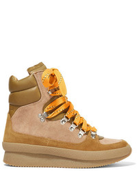 Isabel Marant Brendty Leather Trimmed Suede And Canvas Ankle Boots Tan
