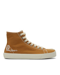 Maison Margiela Tan Canvas Tabi High Top Sneakers