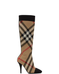 Burberry Beige Check Stretch Knit Sock Boots