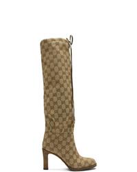 Gucci Beige Gg Canvas Mid Heel Boots