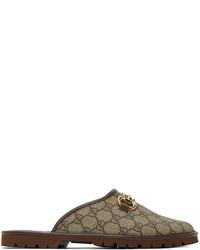 Gucci Beige Brown Gg Horsebit Slip On Loafers
