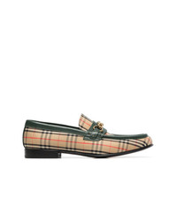 Burberry Brown Vintage Check Print Cotton Loafers