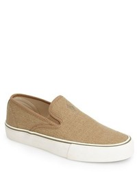 Tan Canvas Slip-on Sneakers