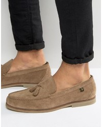 Tan Canvas Tassel Loafers