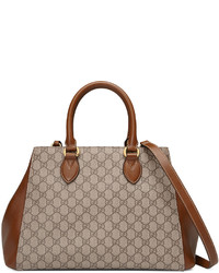 Gucci Gg Supreme Top Handle Tote Bag Beigebrown