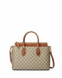 Gucci Gg Supreme Tote Bag Brown