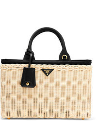 Prada Midollino Large Leather Trimmed Canvas And Wicker Tote Beige