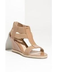 Tan Canvas Wedge Sandals