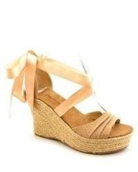 BearPaw Dahlia Tan Open Toe Canvas Wedge Sandals Shoes Uk 8