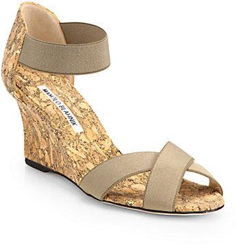 0c70694604206 Manolo Blahnik Veggia Elastic Cork Wedge Sandals, $695   Saks Fifth ...