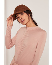 Missguided Khaki Faux Suede Baseball Cap