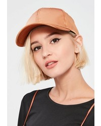 Missguided Tan Satin Baseball Cap